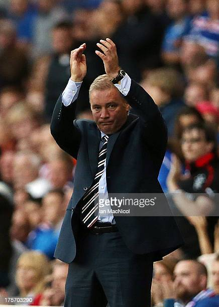 Ally McCoist manager of Rangers reacts during the Pre Season Friendly match between Rangers and Newcastle United at Ibrox Stadium on August 06 2013...