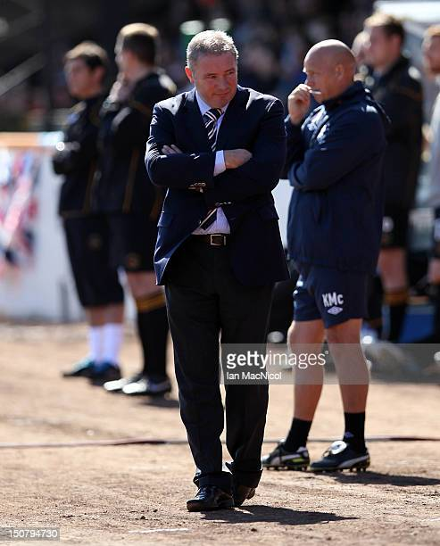 Ally McCoist the manager of Rangers looks on duringThe IrnBru Scottish Third Division match between Berwick Rangers and Glasgow Rangers at Shielfield...