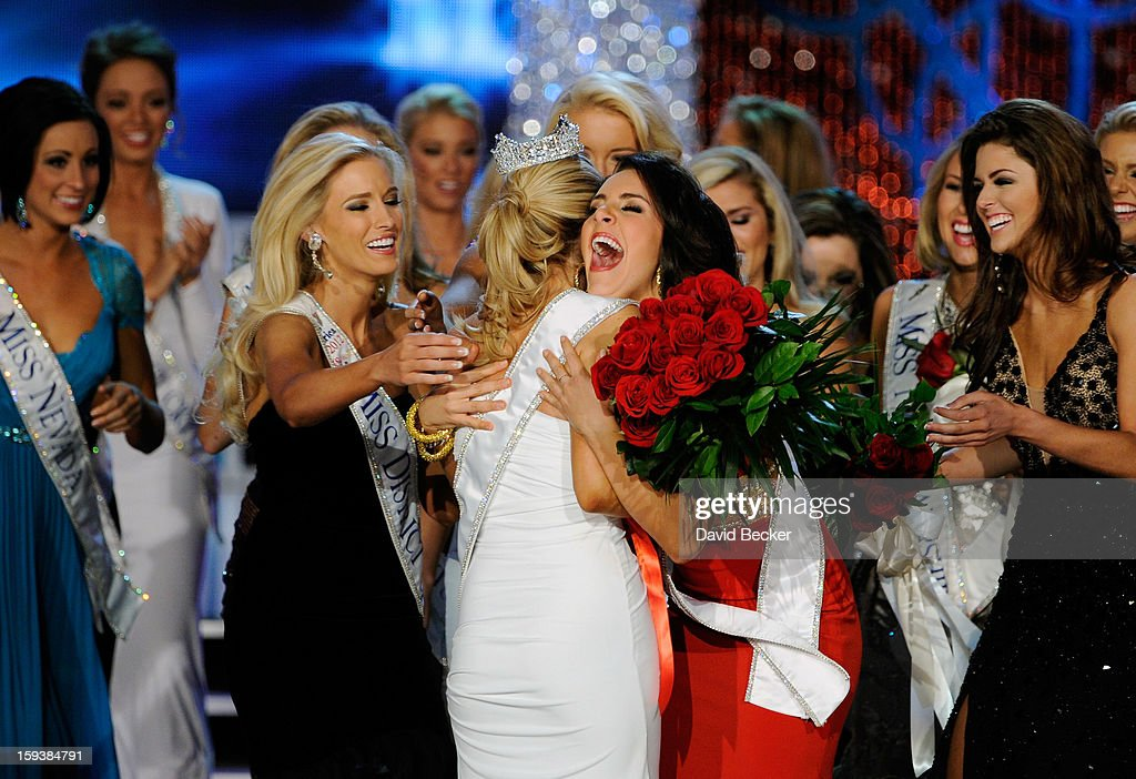 Allyn Rose (L), Miss District of Columbia, and Leighton Jordan, Miss Georgia congratulate Mallory Hytes Hagan of New York after being crowned Miss America during the 2013 Miss America Pageant at PH Live at Planet Hollywood Resort & Casino on January 12, 2013 in Las Vegas, Nevada.