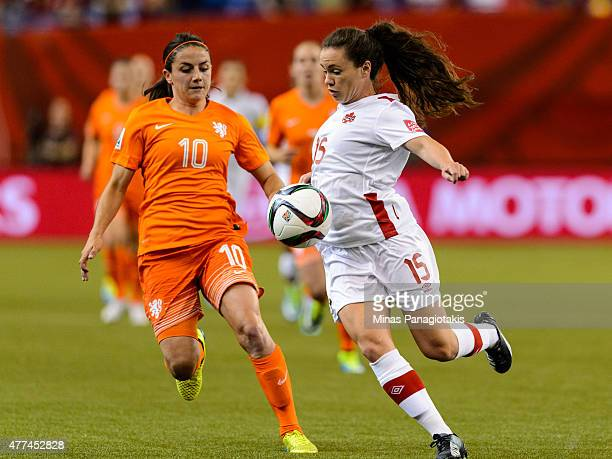 Allysha Chapman of Canada controls the ball near Danielle Van De Donk of the Netherlands during the 2015 FIFA Women's World Cup Group A match at...