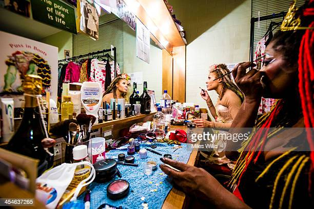 Allyson Ava Brown playing 'Celestine' and Sharon D Clarke playing 'Wicked Queen Talulah' prepare in their dressing room prior to the Puss in Boots...