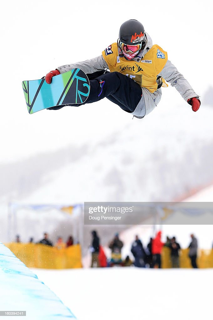 Allyson Carroll competes during qualifications for the FIS Snowboard Halfpipe World Cup at the Sprint U.S. Grand Prix at Park City Mountain on January 30, 2013 in Park City, Utah.