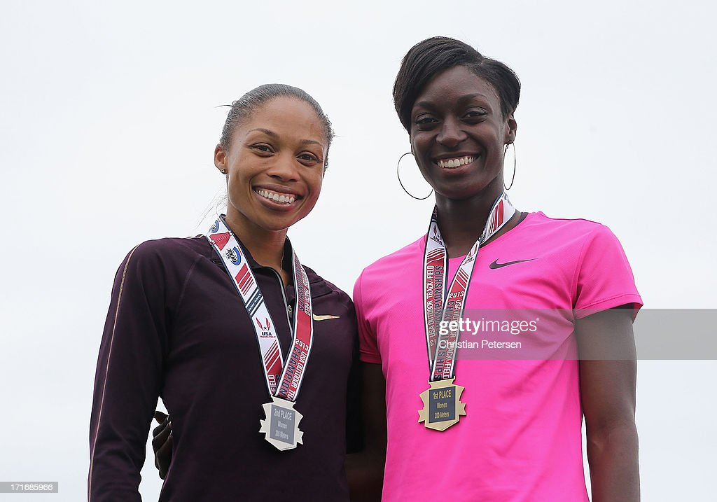 Allyson Felix and Kimberlyn Duncan stand on the podium after winning in the Women's 200 Meter Dash final on day four of the 2013 USA Outdoor Track & Field Championships at Drake Stadium on June 23, 2013 in Des Moines, Iowa.