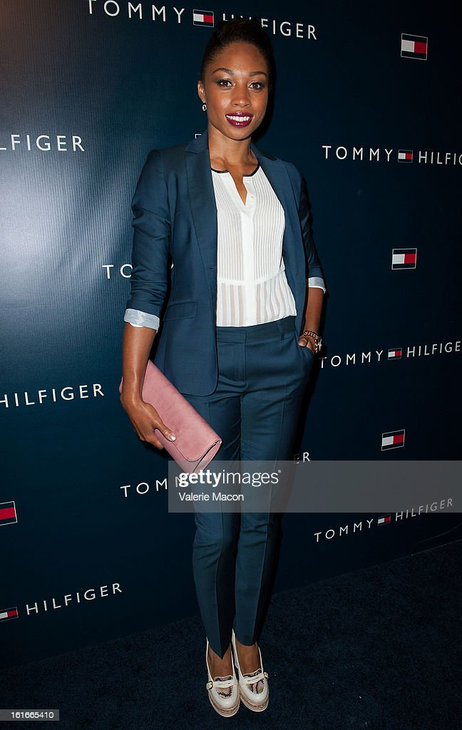 Allyson Felix arrives at the Tommy Hilfiger LA Flagship Opening on February 13, 2013 in Los Angeles, California.