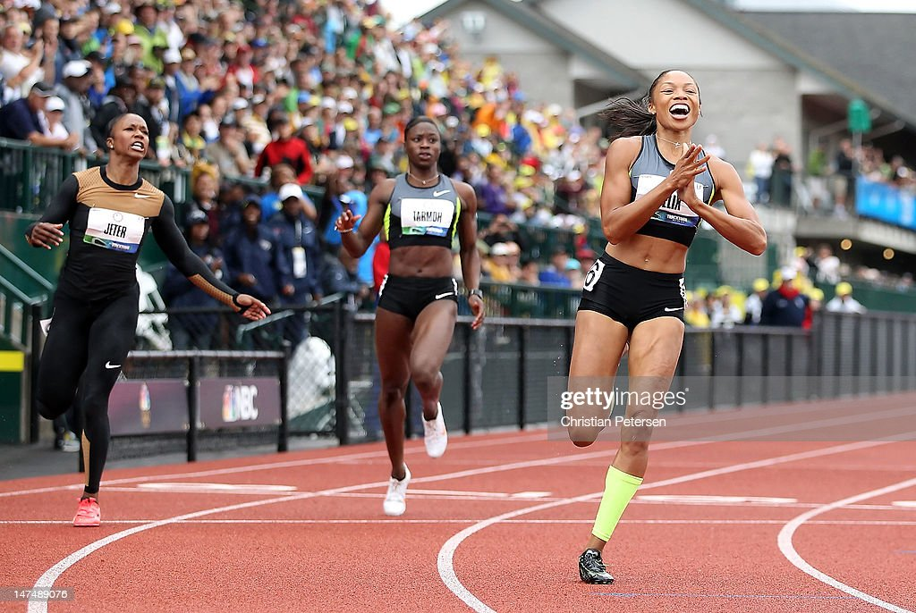 <a gi-track='captionPersonalityLinkClicked' href=/galleries/search?phrase=Allyson+Felix&family=editorial&specificpeople=213459 ng-click='$event.stopPropagation()'>Allyson Felix</a> (R) celebrates after winning the Women's 200 Meter Dash Final ahead of Carmelita Jeter and <a gi-track='captionPersonalityLinkClicked' href=/galleries/search?phrase=Jeneba+Tarmoh&family=editorial&specificpeople=2196214 ng-click='$event.stopPropagation()'>Jeneba Tarmoh</a> on day nine of the U.S. Olympic Track & Field Team Trials at the Hayward Field on June 30, 2012 in Eugene, Oregon.
