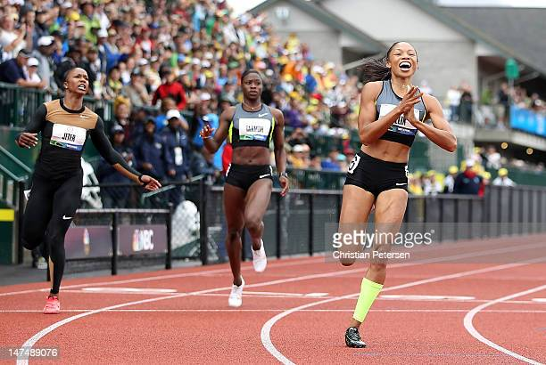 Allyson Felix celebrates after winning the Women's 200 Meter Dash Final ahead of Carmelita Jeter and Jeneba Tarmoh on day nine of the US Olympic...