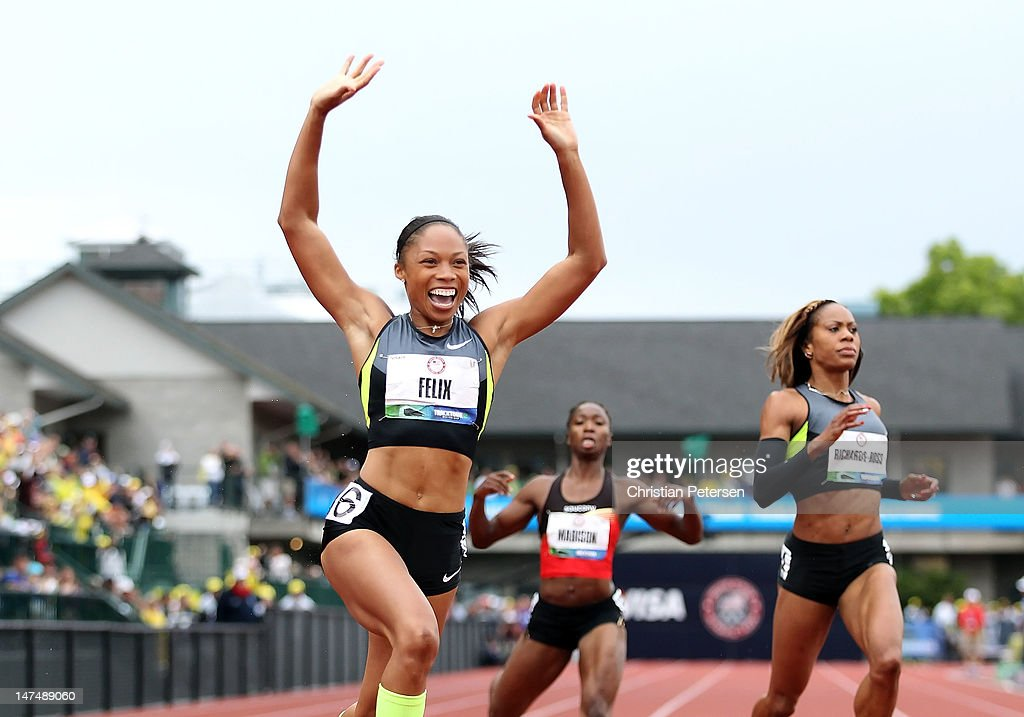 <a gi-track='captionPersonalityLinkClicked' href=/galleries/search?phrase=Allyson+Felix&family=editorial&specificpeople=213459 ng-click='$event.stopPropagation()'>Allyson Felix</a> celebrates after winning the Women's 200 Meter Dash Final on day nine of the U.S. Olympic Track & Field Team Trials at the Hayward Field on June 30, 2012 in Eugene, Oregon.