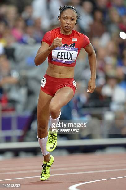 US' Allyson Felix competes in the women's 200m heats at the athletics event of the London 2012 Olympic Games on August 6 2012 in London AFP PHOTO /...