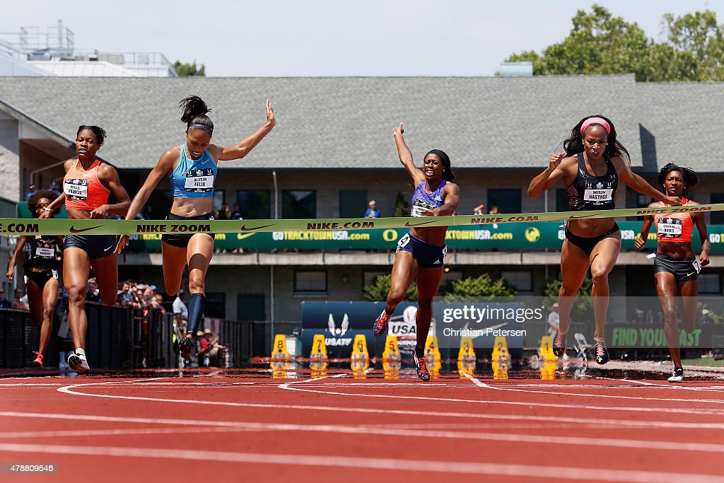 <a gi-track='captionPersonalityLinkClicked' href=/galleries/search?phrase=Allyson+Felix&family=editorial&specificpeople=213459 ng-click='$event.stopPropagation()'>Allyson Felix</a> (second from left) crosses the finish line ahead of <a gi-track='captionPersonalityLinkClicked' href=/galleries/search?phrase=Natasha+Hastings&family=editorial&specificpeople=2983604 ng-click='$event.stopPropagation()'>Natasha Hastings</a> (second from right) to win the Women's 400 Meter Dash final during day three of the 2015 USA Outdoor Track & Field Championships at Hayward Field on June 27, 2015 in Eugene, Oregon.