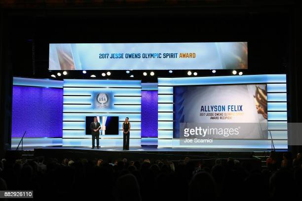 Allyson Felix is seen on stage after winning the Jesse Owens Olympic Spirit Award during the 2017 Team USA Awards on November 29 2017 in Westwood...