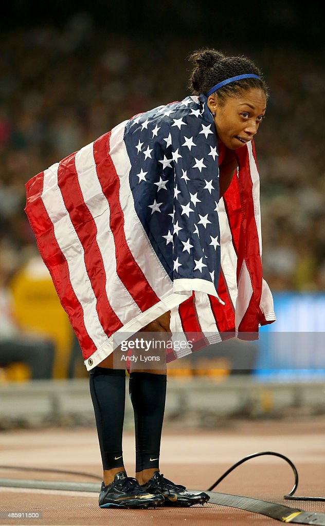 Allyson Felix of the United States celebrates after winning silver in the Women's 4x400 Relay Final during day nine of the 15th IAAF World Athletics...