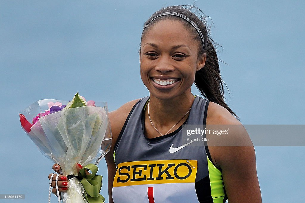 <a gi-track='captionPersonalityLinkClicked' href=/galleries/search?phrase=Allyson+Felix&family=editorial&specificpeople=213459 ng-click='$event.stopPropagation()'>Allyson Felix</a> of the United States celebrates after winning the Women's 100m during the Seiko Golden Grand Prix Kawasaki at Todoroki Stadium on May 6, 2012 in Kawasaki, Japan.