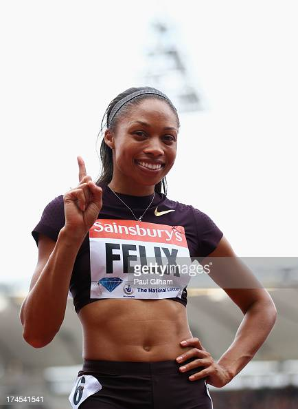 Allyson Felix of the United States celebrates winning in the Women's 200m during day two of the Sainsbury's Anniversary Games IAAF Diamond League...