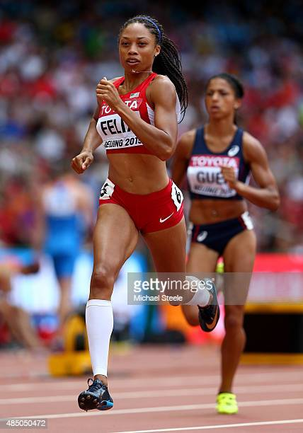 Allyson Felix of the United States competes in the Women's 400 metres heats during day three of the 15th IAAF World Athletics Championships Beijing...