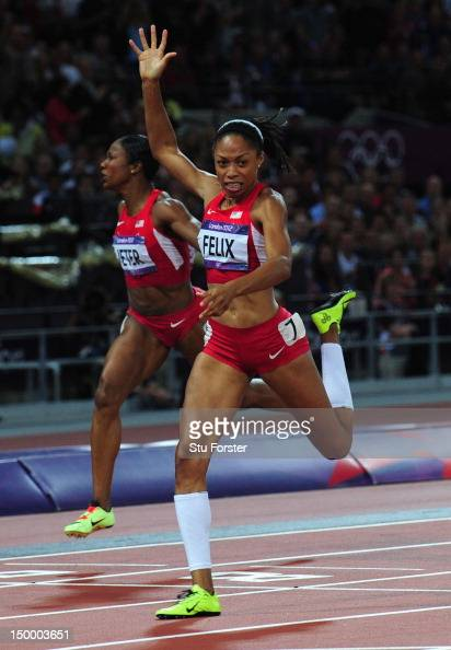 Allyson Felix of the United States crosses the finish line to win gold in the Women's 200m Final on Day 12 of the London 2012 Olympic Games at...