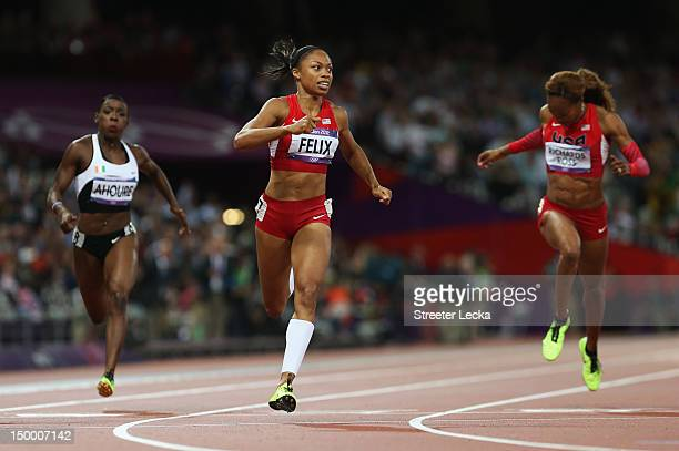 Allyson Felix of the United States leads the field in the Women's 200m Final on Day 12 of the London 2012 Olympic Games at Olympic Stadium on August...