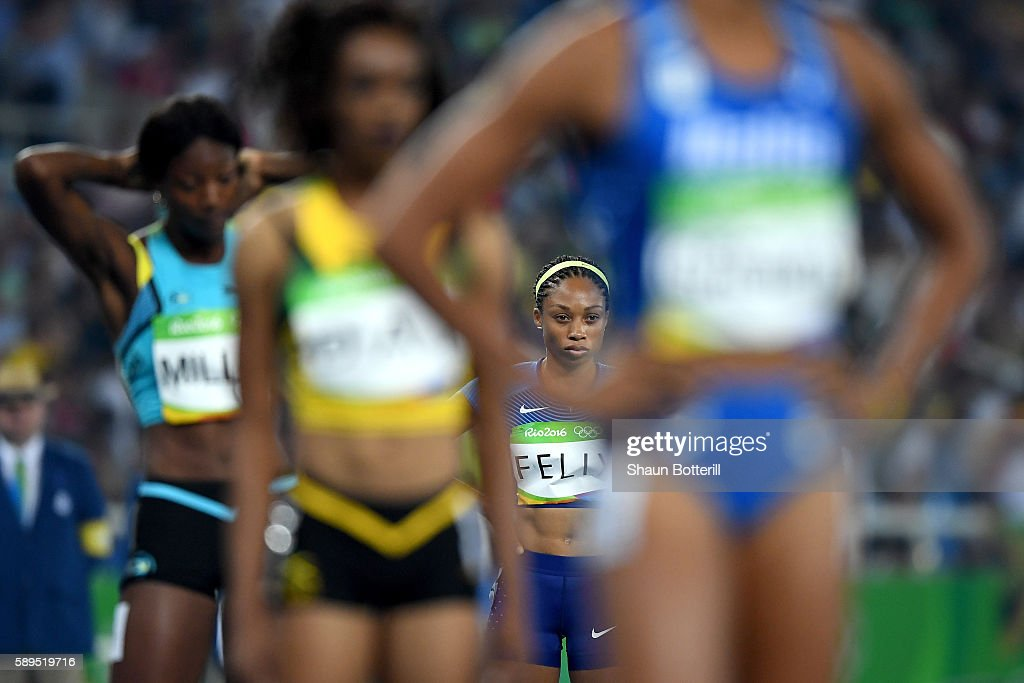 Allyson Felix of the United States prepares to compete in the Women's 400 meter semifinal on Day 9 of the Rio 2016 Olympic Games at the Olympic...