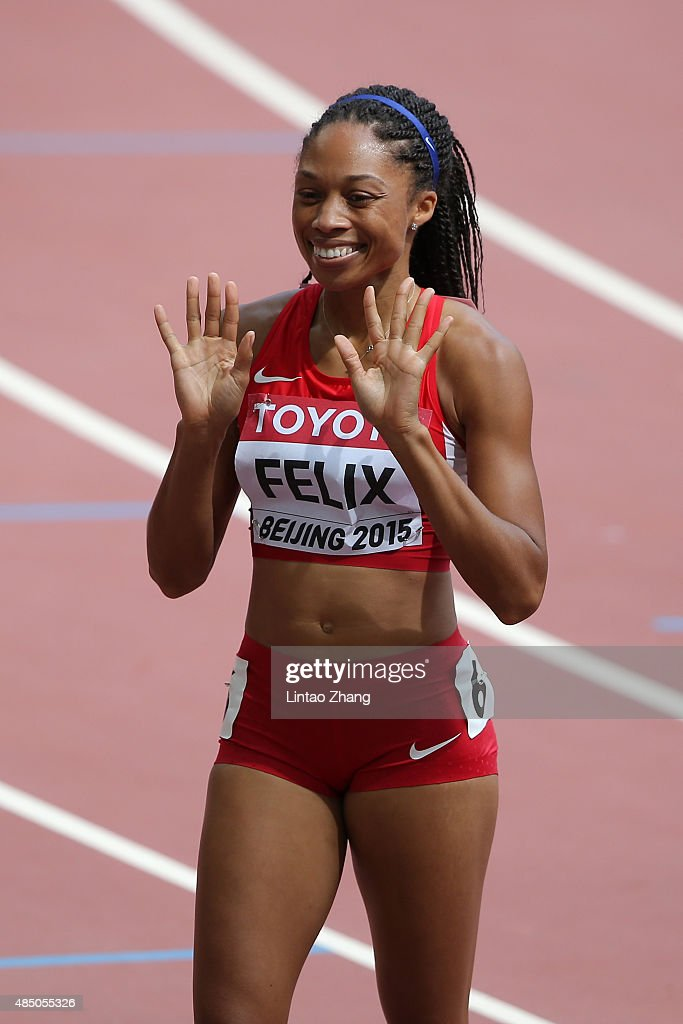 <a gi-track='captionPersonalityLinkClicked' href=/galleries/search?phrase=Allyson+Felix&family=editorial&specificpeople=213459 ng-click='$event.stopPropagation()'>Allyson Felix</a> of the United States reacts after competing in the Women's 400 metres heats during day three of the 15th IAAF World Athletics Championships Beijing 2015 at Beijing National Stadium on August 24, 2015 in Beijing, China.
