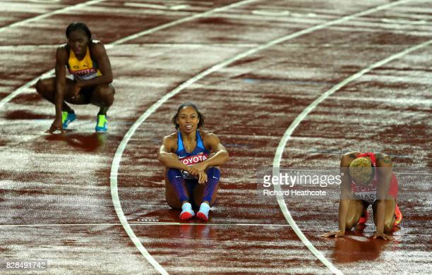 Allyson Felix of the United States reacts after competing in the Women's 400 metres final during day six of the 16th IAAF World Athletics...