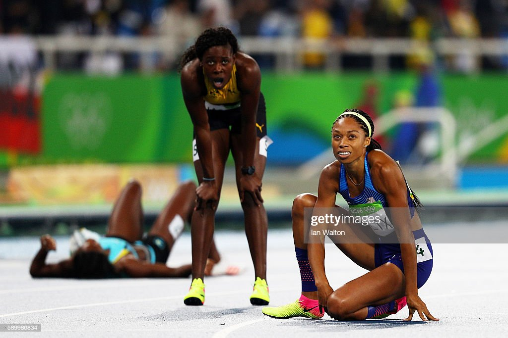 Allyson Felix of the United States (R) reacts after winning the silver medal in the Women's 400m Final on Day 10 of the Rio 2016 Olympic Games at the Olympic Stadium on August 15, 2016 in Rio de Janeiro, Brazil.