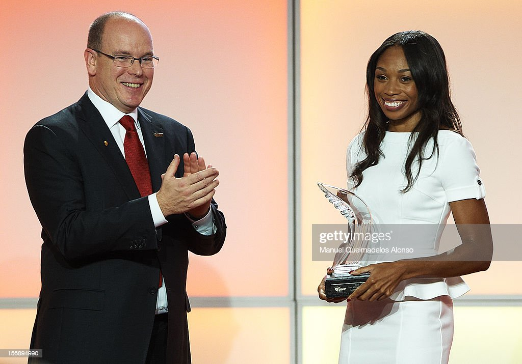 Allyson Felix (R) of the United States receives the female athlete of the year award from Prince Albert II of Monaco during the IAAF athlete of the year awards at the IAAF Centenary Gala on November 24, 2012 in Barcelona, Spain.
