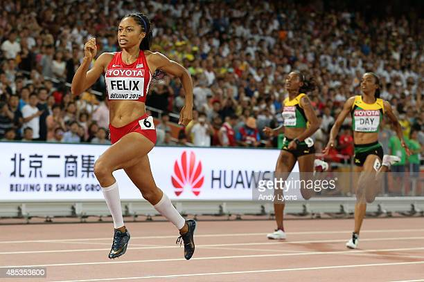Allyson Felix of the United States sprints to the line to win gold in the Women's 400 metres Final during day six of the 15th IAAF World Athletics...