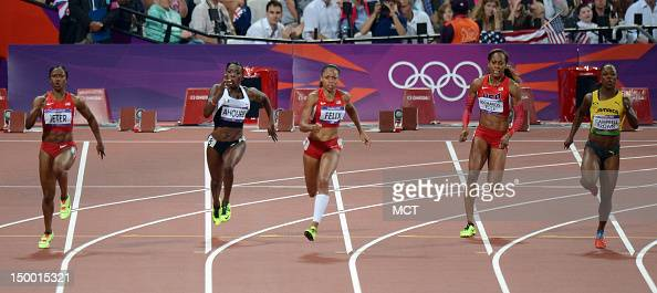 Allyson Felix of the USA center leads the field out of the turn in the women's 200m at Olympic Stadium during the 2012 Summer Olympic Games in London...