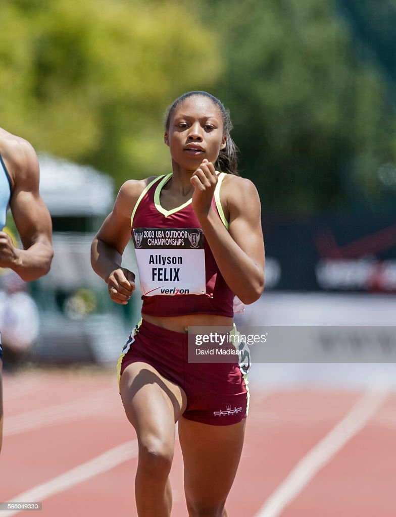 Allyson Felix of the USA runs a 200 meter race during the 2003 USA Track and Field Championships on June 22 2003 at Stanford University in Palo Alto...