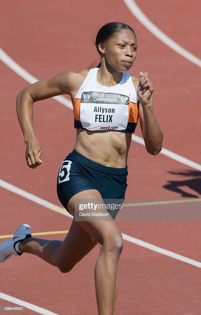 Allyson Felix of the USA runs a 200 meter race during the 2003 USA Track and Field Championships on June 21 2003 at Stanford University in Palo Alto...