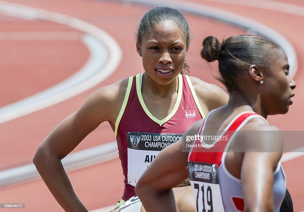Allyson Felix of the USA stands on the track after running a 200 meter race during the 2003 USA Track and Field Championships on June 22 2003 at...