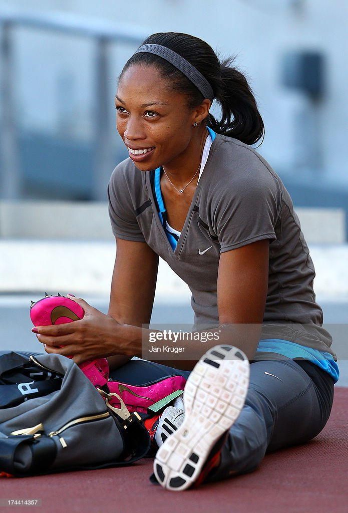 <a gi-track='captionPersonalityLinkClicked' href=/galleries/search?phrase=Allyson+Felix&family=editorial&specificpeople=213459 ng-click='$event.stopPropagation()'>Allyson Felix</a> of the USA takes part in training ahead of the Sainsbury's Anniversary Games - IAAF Diamond League at The Olympic Stadium on July 25, 2013 in London, England.