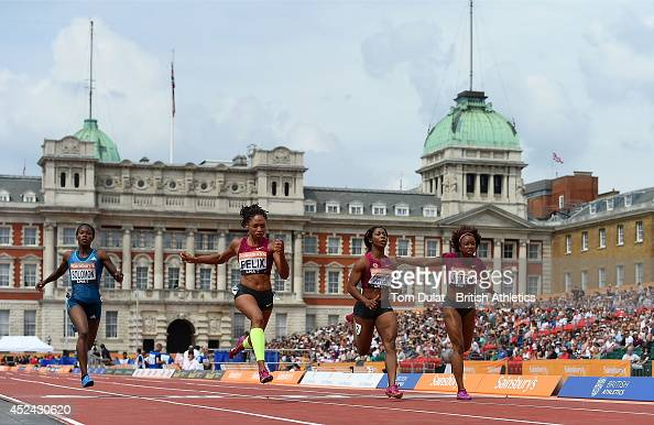 Allyson Felix of United States wins Women's 100 Meters Race during the Sainsbury's Anniversary Games at Horse Guards Parade on July 20 2014 in London...