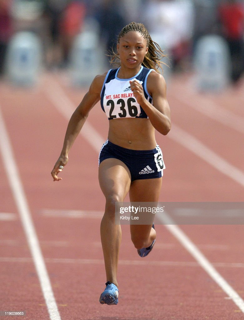 <a gi-track='captionPersonalityLinkClicked' href=/galleries/search?phrase=Allyson+Felix&family=editorial&specificpeople=213459 ng-click='$event.stopPropagation()'>Allyson Felix</a> places second in invitational women's 100 meters in a wind-aided 11.14 seconds in the 46th Mt. San Antonio College Relays on Sunday, April 18, 2004.