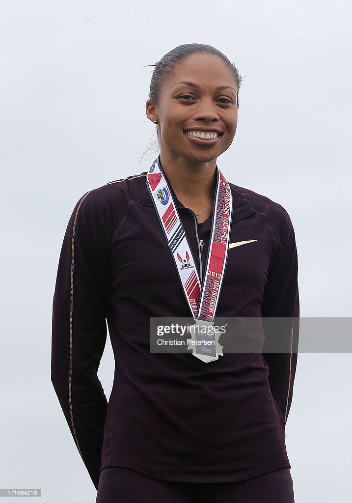 Allyson Felix poses on the podium after finishing second place in the Women's 200 Meter Dash final on day four of the 2013 USA Outdoor Track & Field Championships at Drake Stadium on June 23, 2013 in Des Moines, Iowa.