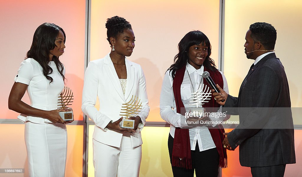 Allyson Felix, Tianna Madison and Bianca Knight of the United States receive the female performance of the year award and speak to during the IAAF athlete of the year awards at the IAAF Centenary Gala on November 24, 2012 in Barcelona, Spain.