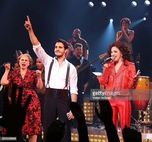 Alma Cuervo Ektor Rivera and Ana Villafane from the Broadway production of 'On Your Feet' celebrate their 500th performance at Marquis Hotel on...