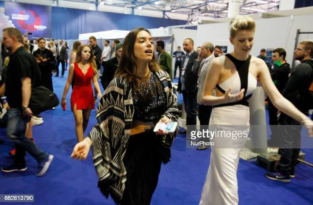 Alma from France and Levina from Germany walk to a rehearsal for the Grand Final of the Eurovision Song Contest in Kiev Ukraine 13 May 2017 The...