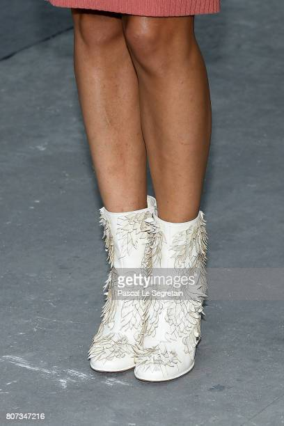 Alma Jodorowsky boot detail attends the Chanel Haute Couture Fall/Winter 20172018 show as part of Haute Couture Paris Fashion Week on July 4 2017 in...