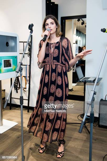 Alma Jodorowsky of the band Burning Paecocks performs during the BaSh store opening on March 23 2017 in Berlin Germany