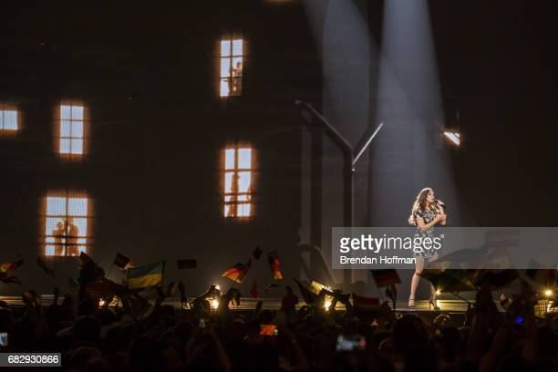 Alma the contestant from France performs at the Eurovision Grand Final on May 14 2017 in Kiev Ukraine Ukraine is the 62nd host of the annual...