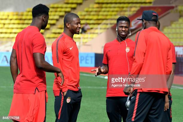 Almamy Toure and Balde Keita of Monaco and teammates during the Ligue 1 match between AS Monaco and Strasbourg at Stade Louis II on September 16 2017...