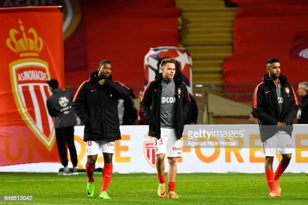 Almamy Toure Irvin Cardona and Jorge Moraes of Monaco during the French Ligue 1 match between Monaco and Nantes at Louis II Stadium on March 5 2017...