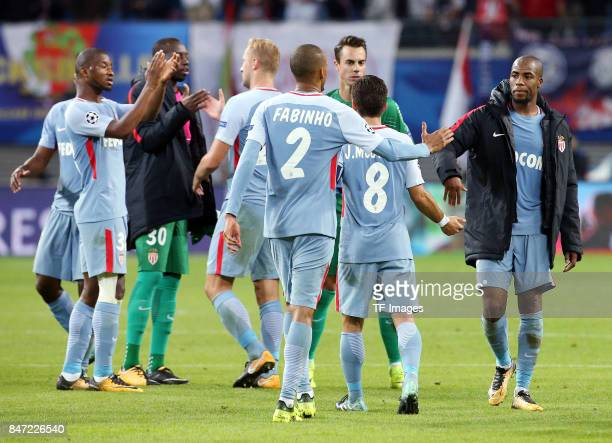 Almamy Toure of Monaco and Fabinho of Monaco and Joao Moutinho of Monaco and Djibril Sidibe of Monaco looks on during the UEFA Champions League group...