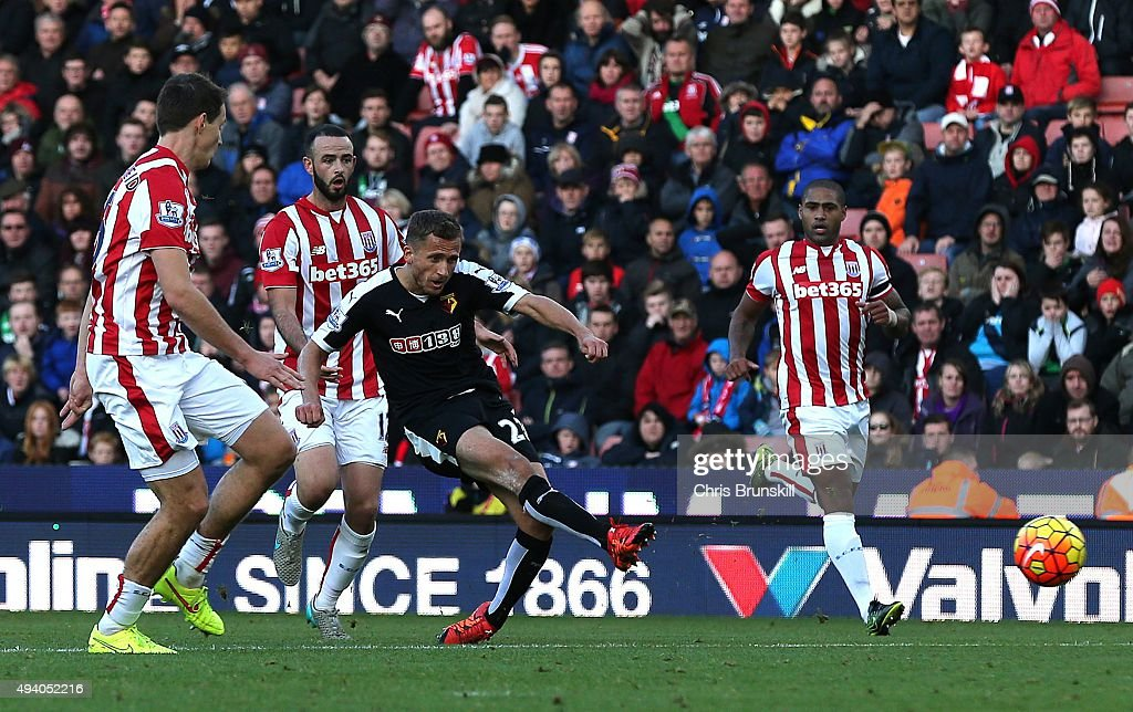 Alman Abdi of Watford scores his side's second goal during the Barclays Premier League match between Stoke City and Watford on October 24, 2015 in Stoke on Trent, England.
