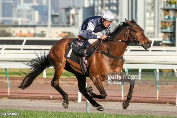Almandin ridden by Damien Oliver wins the Japan Racing Association Trophy at Flemington Racecourse on September 16 2017 in Flemington Australia