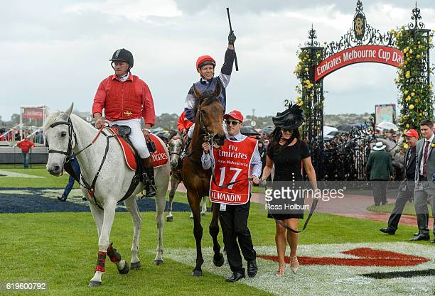 Almandin ridden by Kerrin McEvoy returns to scale after winning Emirates Melbourne Cup at Flemington Racecourse on November 01 2016 in Flemington...