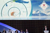 Almaty 2022 bid committee vicechairman Andrey Kryukov speaks during the bid presentation to host the 2022 Winter Olympics in the Kazakh city of...
