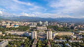 Aerial view of the building of city administration at the Republic Square in Almaty, Kazakhstan.