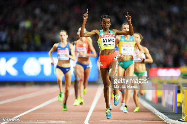 Almaz Ayana of Ethiopia celebrates victory in the Women's 10000 metres final during day two of the 16th IAAF World Athletics Championships London...