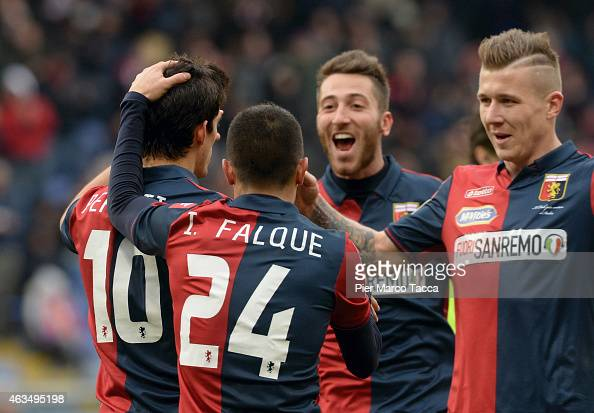 Almeira Diego Perotti celebrates the goal with Iago Falque Silva of Genoa CFC during the Serie A match between Genoa CFC and Hellas Verona FC at...